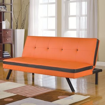 Penly Collection tow tone orange and black faux leather upholstered futon sofa bed