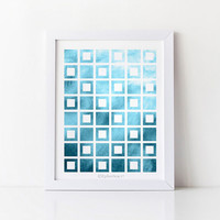 Blue art print Blue wall art, Instant download PRINTABLE art, Office decor art print, Bedroom decor Geometric art, 8x10 art print Wall print