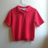 Vintage red cropped polo shirt. Size small, could fit medium. ...