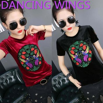 DANCING WINGS Spring Summer Vintage Embroidery Velvet T Shirt Womens Casual Short Sleeve Round Neck Loose Tee Tops