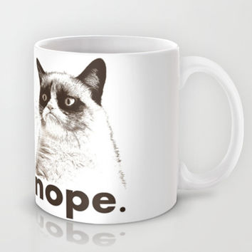 NOPE - Grumpy cat. Mug by John Medbury (LAZY J Studios)