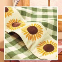 Country Curtain Set Sunflower Swag Checked Gingham Print Kitchen Dining Decor