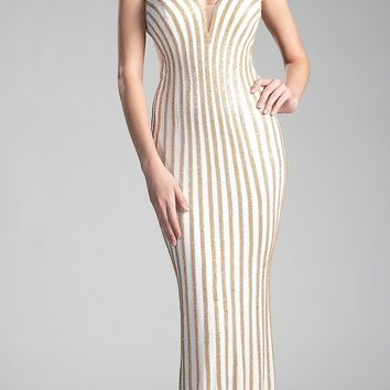 Cream/Gold Long Prom Dress Cut-Out Back