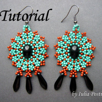 Radiant - beadweaving earrings tutorial / Beading tutorial / Earring tutorial / Bead pattern / Turquoise, terracotta / TUTORIAL ONLY