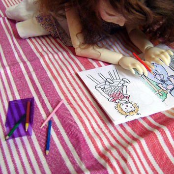 Colouring book with crayons for BJDs