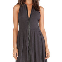 Heather Zip Front Skater Dress in Charcoal