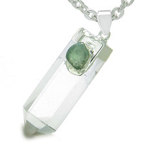 Astrological Gemini Amulet Crystal Point Green Quartz Pendant 22 Inch Necklace