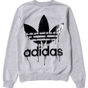 Adidas Jeremy Scott ObyO Melted Logo Mens Sweatshirt Top Grey P51341