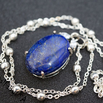 Lapis Lazuli Necklace Silver - Vampire Diaries Katherine Necklace - Sterling Sil