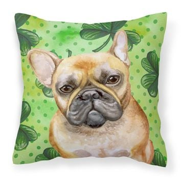 French Bulldog St Patrick's Fabric Decorative Pillow BB9862PW1414