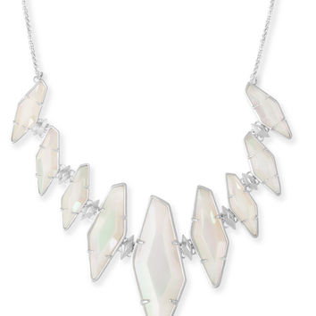 Kendra Scott: Berniece Silver Collar Necklace Iridescent White Banded Agate