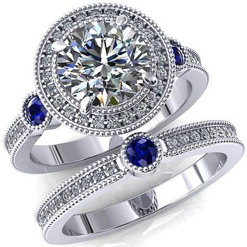 Brachium Round Moissanite Blue Sapphire Bezel Milgrain Halo 3/4 Eternity Accent Diamond Ring