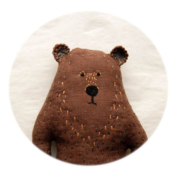 Strange Woodland Soft Creature - Weird Brown Stuffed Bear Plushie - Embroidered Animal toy for Kids