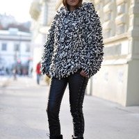 Isabel Marant Wool Cardigan Sweater Coat Looks Like Black White Gray Fur Small S (H&M  by Isabel Marant)