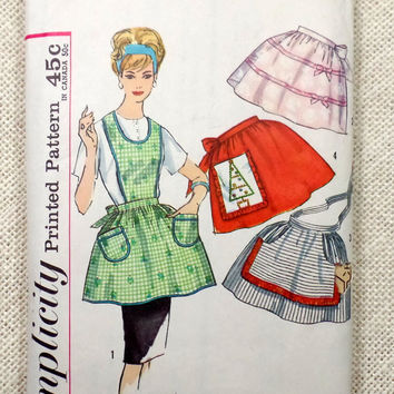 Vintage Sewing Pattern Apron Simplicity 4213 1960s Bib housewife Christmas half One yard