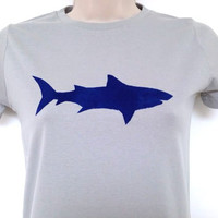 Shark t-shirt - low carbon, organic, fairly traded, hand printed