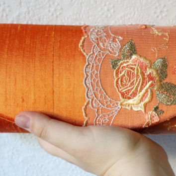 Orange clutch bag with embroidered yellow flower lace overlay, Orange Silk clutch purse