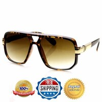 Classic Retro 80s Vintage Fashion Disco Square Aviator Tortoise Gold Sunglasses