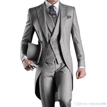 Custom Made Groom Tuxedos Groomsmen Morning Style 14 Style Best man Peak Lapel G