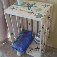 Rustic End table, Side Table Crate / Nightstand / Wine Crate Side Table / Nautical Decor / Please contact me for Shipping Qoute