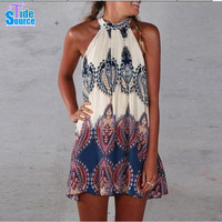 2015 Western Exotic Ethnic Pattern Printed Women Casual Dress Summer Style Sleeveless Pleated Sexy Halter Beach Dresses Vestidos