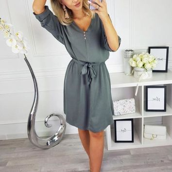 Women Fashion New Style V-neck Sexy Bandage Short Dress Lady Summer Dress Chiffon Beachwear Shirt Dress Vestido