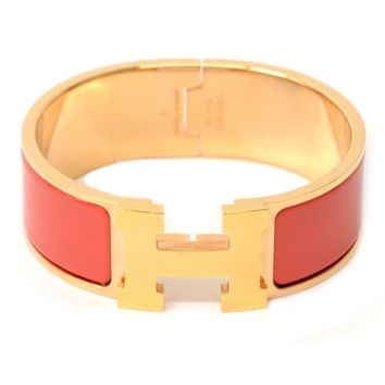 Authentic Hermes Clic Clac GM Bracelet Bangle Rose Gold Salmon Pink Ladies 63.1g