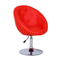 Furnistar Red Egg shape Cushioned Leatherette Adjustable Swivel Home Office Chair