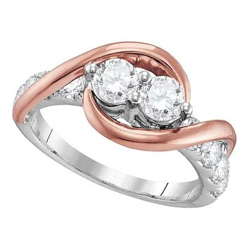 14kt Two-tone Gold Women's Round Diamond 2-stone Bridal Wedding Engagement Ring 1.00 Cttw - FREE Shipping (US/CAN)