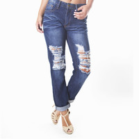 George Distressed Boyfriend Denim Pants