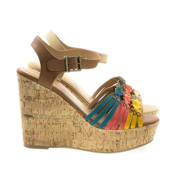 Music Orange By Soda, Cork Platform Wedge Fisherman Woven Sandal, Women Open Toe Shoes