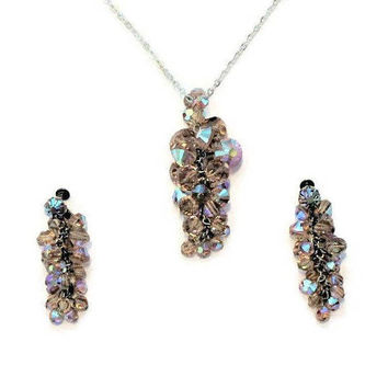 Aurora Borealis Crystal Cluster Jewelry Set, Necklace And Screw Back Earrings