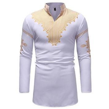 White and Gold Mens Hipster African Dashiki Longline Shirt