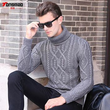 Winter Warm Cashmere Men Sweater Fashion Striped Knitted Turn-down Collar Men Pullover Casual Solid Soft Thick Wool Mens Sweater