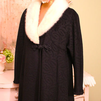 1950s Black French Swing Coat,  Jackie O Glamour Coat,  50s Brocade Winter Coat, Mohair Camel Hair Coat, Audrey Hepburn Style Coat, Large