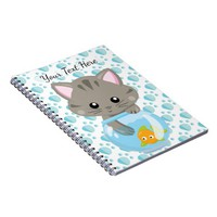Adorable Gray Tabby Kitten with Fish Bowl Spiral Notebook