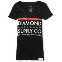 Diamond Supply Girls Roots Black Scoop Neck Tee Shirt