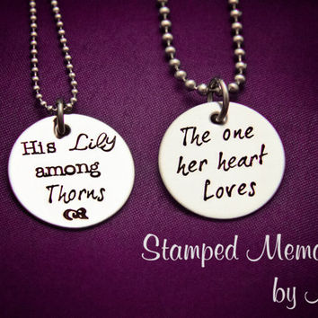 His Lily among Thorns, The one her heart Loves - Hand Stamped Stainless Steel Necklaces Set - Matching Couples Jewelry - Song of Solomon 2:2