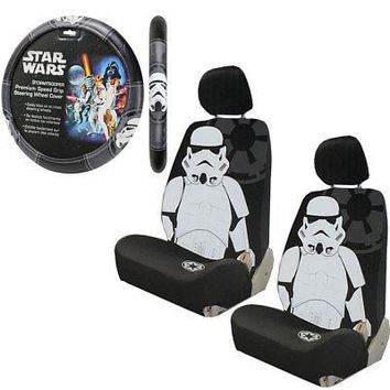 Licensed Official New Star Wars Stormtrooper Car Truck 2 Front Seat Covers & Steering Wheel Cover