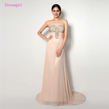 Backless 2018 Prom Dresses A- line Sweetheart Chiffon Beaded Crystals Long Women Prom Gown Evening Dresses Robe De Soiree