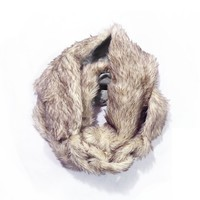 Arctic Fox Faux Fur Scalloped Scarf with Link Closure