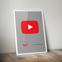 YouTube Minimalist Poster Print- Custom | Digital Download | Printable | Includes Your YouTube Channel Name |