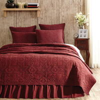 Cheyenne American Red 4 pc Queen/King Bed Quilt Bedding Set by VHC