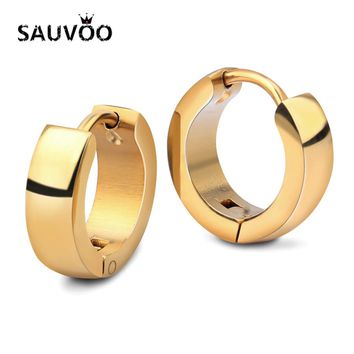SAUVOO 2018 Punk Stainless Steel Round Stud Earrings For Women Men Gold Rose Gold Color Small Ear Studs Brincos Jewelry Gifts