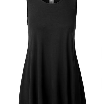 LE3NO Womens Stretchy Flowy Basic A Line Sleeveless Crew Neck Tunic Top