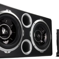 "VM Audio Dual 12"" Vented Port 2000 Watt Sub Car Stereo Box Bass Package w/Amp"
