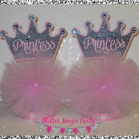 GlitterMagicParty - Princess Centerpieces, Silver Crown, Pink Tutu - SET OF 2 - MADE TO ORDER