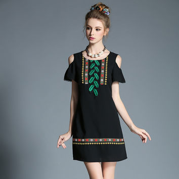 Women Ethical Tribal Cold Shoulder Dress Plus Size Black Short Summer Dress l-5xl