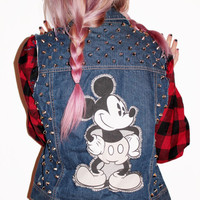 Mickey Mouse Studded Denim Vest / Disney Clothing / Reconstructed Vintage Sleeveless / Hipster Jean / One of a Kind