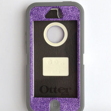 Otterbox Case iPhone 5 Glitter Cute Sparkly Bling Defender Series Custom Case Purple/ Grey